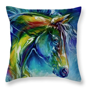 Midnight Run Equine Throw Pillow