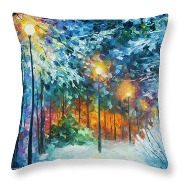 Midnight Snow Songs  Throw Pillow by Leonid Afremov