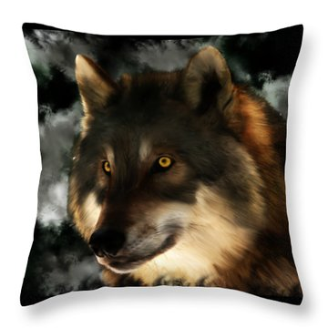 Midnight Stare - Wolf Digital Painting Throw Pillow