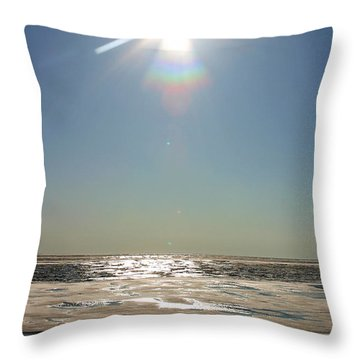 Midnight Sun Over The Arctic Throw Pillow