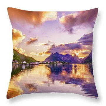 Midnight Sun Reflections In Reine Throw Pillow