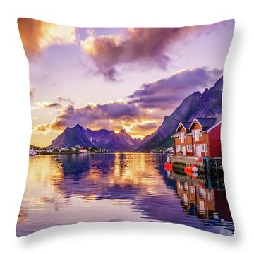 Throw Pillow featuring the photograph Midnight Sun Reflections In Reine by Dmytro Korol