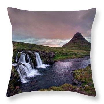 Throw Pillow featuring the photograph Midnight Sunset At Kirkjufellsfoss by Peter Thoeny
