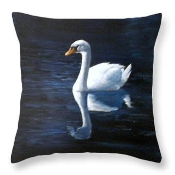 Midnight Swan Throw Pillow by Marti Idlet