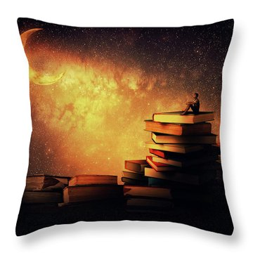 Midnight Tale Throw Pillow by Psycho Shadow