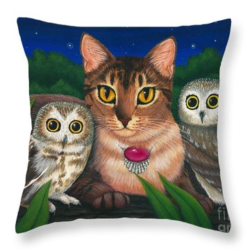 Midnight Watching - Abyssinian Cat Saw Whet Owls Throw Pillow