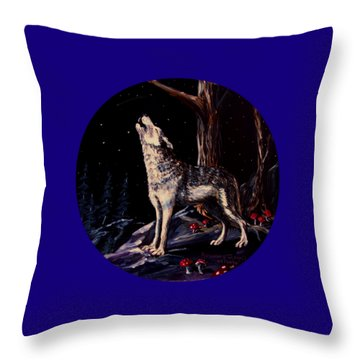 Midnight Wolf Throw Pillow by Ruanna Sion Shadd a'Dann'l Yoder