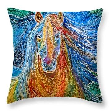 Midnightsun Equine Batik Throw Pillow