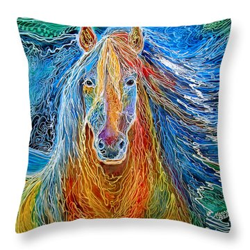Midnightsun Equine Batik Throw Pillow
