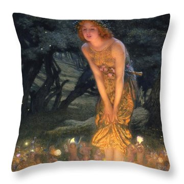 Midsummer Eve Throw Pillow by Edward Robert Hughes