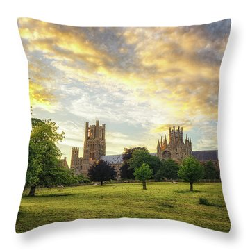 Midsummer Evening In Ely Throw Pillow