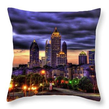 Midtown Atlanta Towers Over Atlantic Commons Art Throw Pillow
