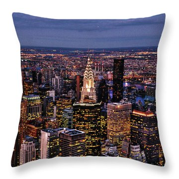 Midtown Skyline At Dusk Throw Pillow by Randy Aveille