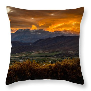 Midway Utah Sunset Throw Pillow