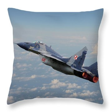 Throw Pillow featuring the digital art Mig 29 - Polish Fulcrum Dedication by Pat Speirs