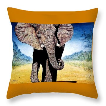 Mighty Elephant Throw Pillow by Hartmut Jager