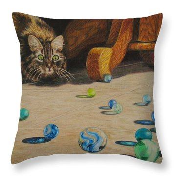 Throw Pillow featuring the drawing Mighty Hunter by Karen Ilari
