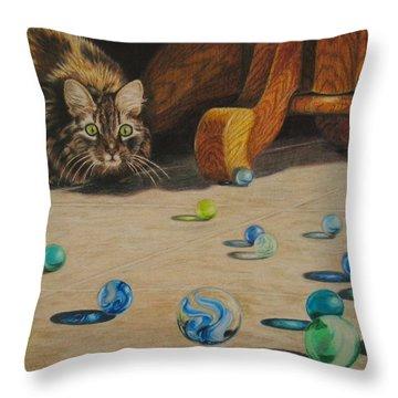 Throw Pillow featuring the drawing Mighty Hunter by Karen Ilari