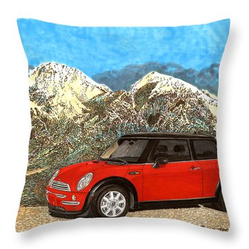 Mighty Mini Cooper S Throw Pillow by Jack Pumphrey