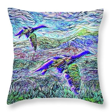 Migrate Beyond The Mountain Throw Pillow by Joel Bruce Wallach