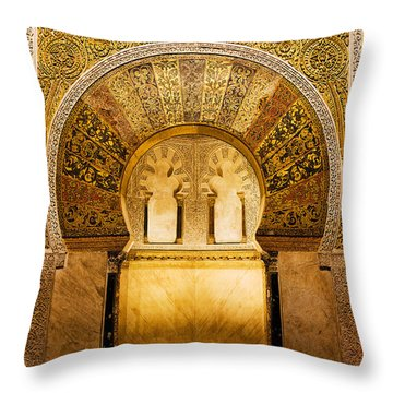 Mihrab In The Great Mosque Of Cordoba Throw Pillow