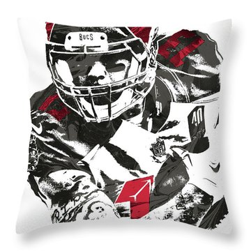 Throw Pillow featuring the mixed media Mike Evans Tampa Bay Buccaneers Pixel Art by Joe Hamilton