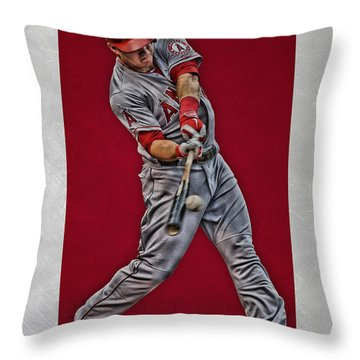 Throw Pillow featuring the mixed media Mike Trout Los Angeles Angels Art 1 by Joe Hamilton
