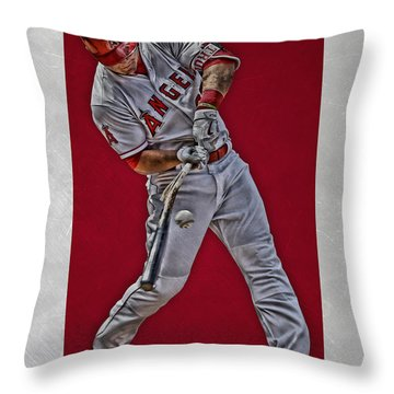 Throw Pillow featuring the mixed media Mike Trout Los Angeles Angels Art 2 by Joe Hamilton