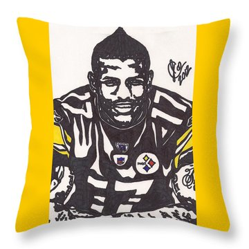 Throw Pillow featuring the drawing Mike Wallace 1 by Jeremiah Colley