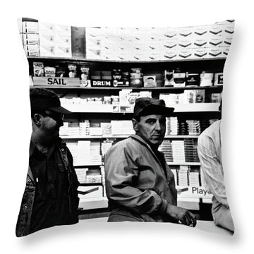 Mikes Corner Store Throw Pillow