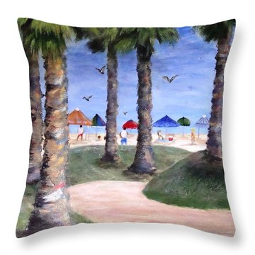 Mike's Hermosa Beach Throw Pillow by Jamie Frier