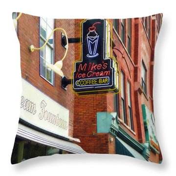 Throw Pillow featuring the painting Mike's Ice Cream And Coffee Bar by Sandy MacGowan