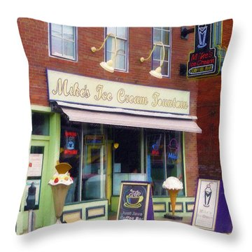 Throw Pillow featuring the painting Mike's Ice Cream Fountain by Sandy MacGowan