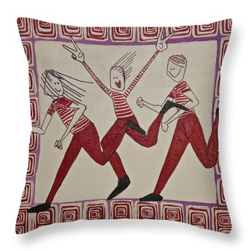 Mikey Just Likes To Participate Throw Pillow by Donna Howard