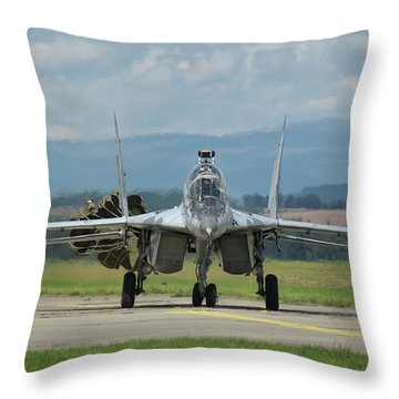 Throw Pillow featuring the photograph Mikoyan-gurevich Mig-29ubs by Tim Beach