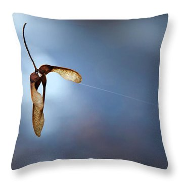 Miksang 3 Maple Seeds Throw Pillow by Theresa Tahara