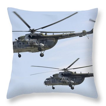 Mil Mi-17 Helicopters Of The Czech Air Throw Pillow