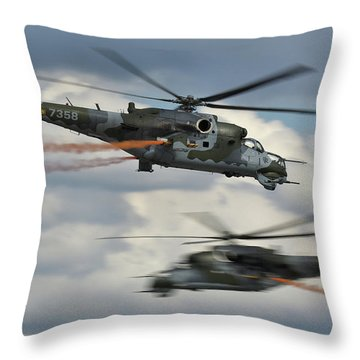 Throw Pillow featuring the photograph Mil Mi-24v Hind E by Tim Beach