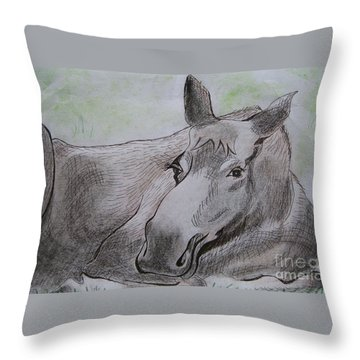 Mildred The Moose Resting Throw Pillow by Stella Sherman
