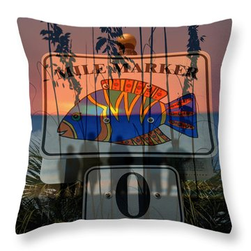 Throw Pillow featuring the photograph Mile Marker 0 Sunset by David Lee Thompson