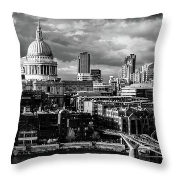 Milennium Bridge And St. Pauls, London Throw Pillow