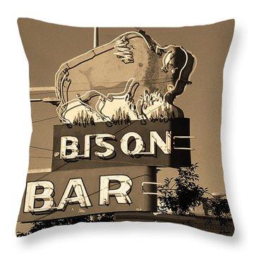 Miles City, Montana - Bison Bar Sepia Throw Pillow