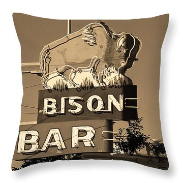 Miles City, Montana - Bison Bar Sepia Throw Pillow