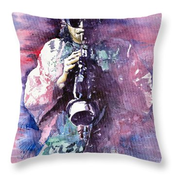 Miles Davis Meditation 2 Throw Pillow by Yuriy  Shevchuk
