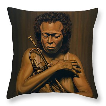 Miles Davis Painting Throw Pillow