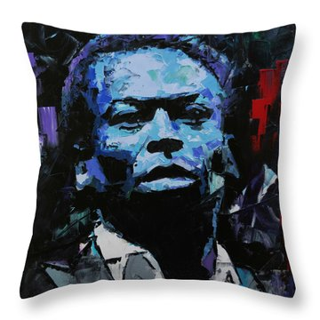Throw Pillow featuring the painting Miles Davis by Richard Day