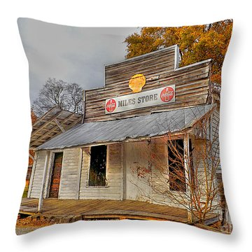 Miles Store  Throw Pillow by Christy Ricafrente