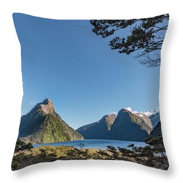 Throw Pillow featuring the photograph Milford Sound Overlook by Gary Eason