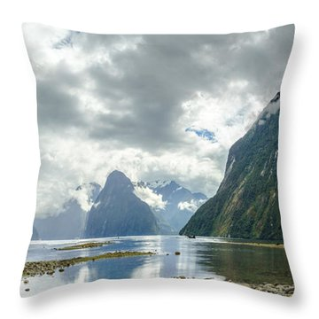 Milford Sound Panorama Throw Pillow