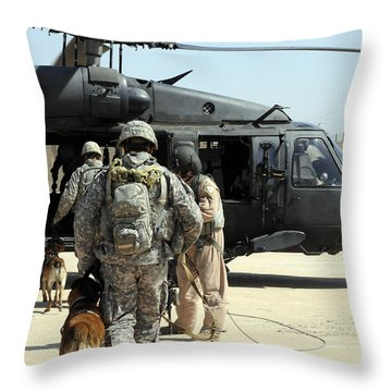 Military Working Dog Handlers Board Throw Pillow by Stocktrek Images